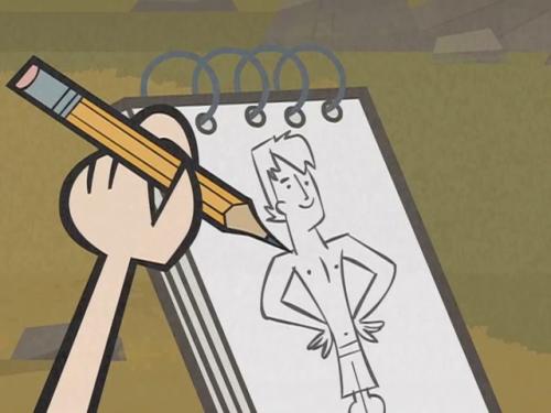 Gwen dibujando a Trent